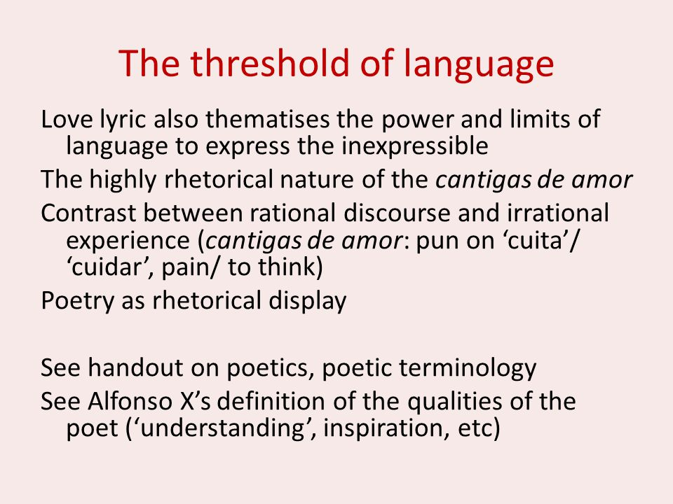 The threshold of language