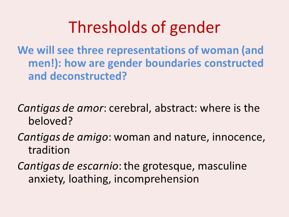Thresholds of gender