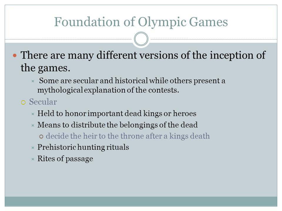 Foundation of Olympic Games