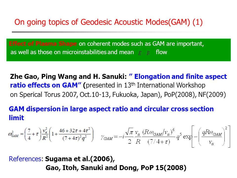 On going topics of Geodesic Acoustic Modes(GAM) (1)