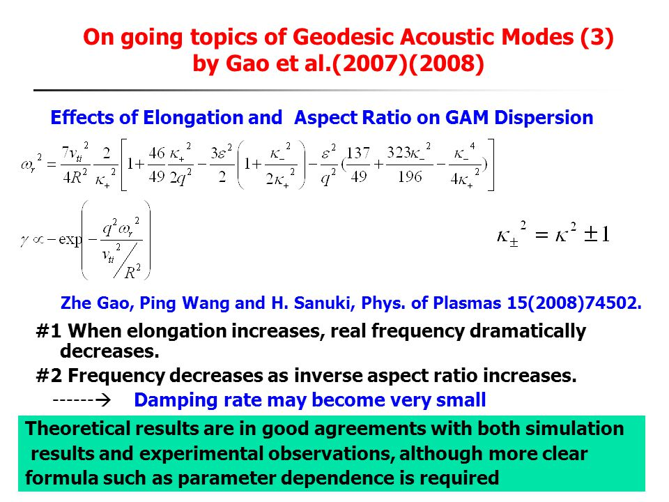 On going topics of Geodesic Acoustic Modes (3) by Gao et al