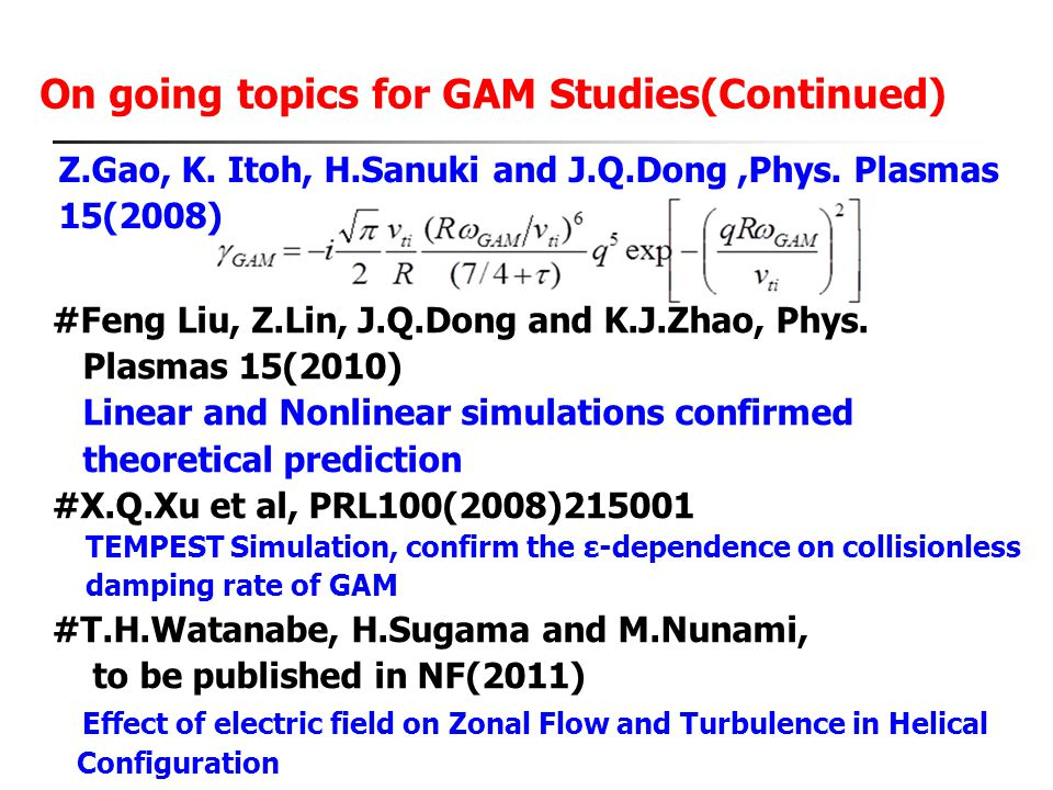 On going topics for GAM Studies(Continued)
