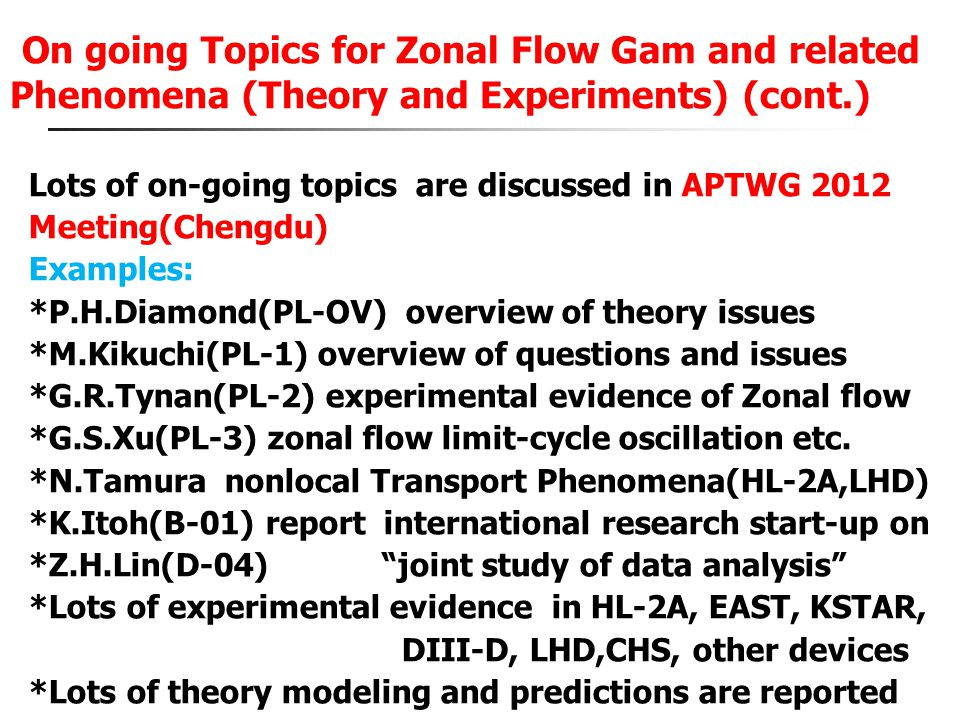 On going Topics for Zonal Flow Gam and related Phenomena (Theory and Experiments) (cont.)