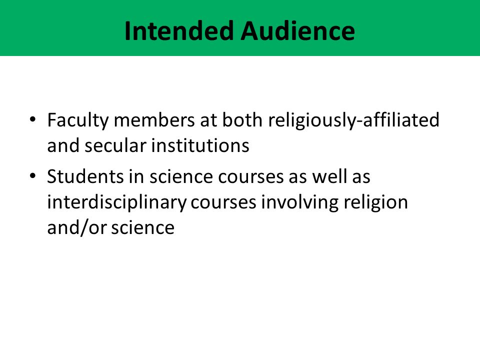 Intended Audience Faculty members at both religiously-affiliated and secular institutions.