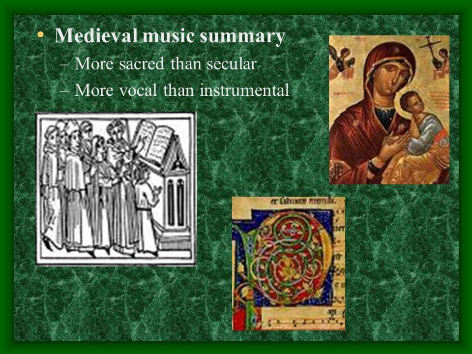 Medieval music summary