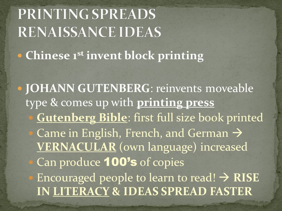PRINTING SPREADS RENAISSANCE IDEAS
