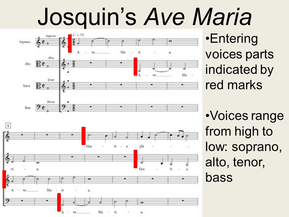 Josquin's Ave Maria Entering voices parts indicated by red marks