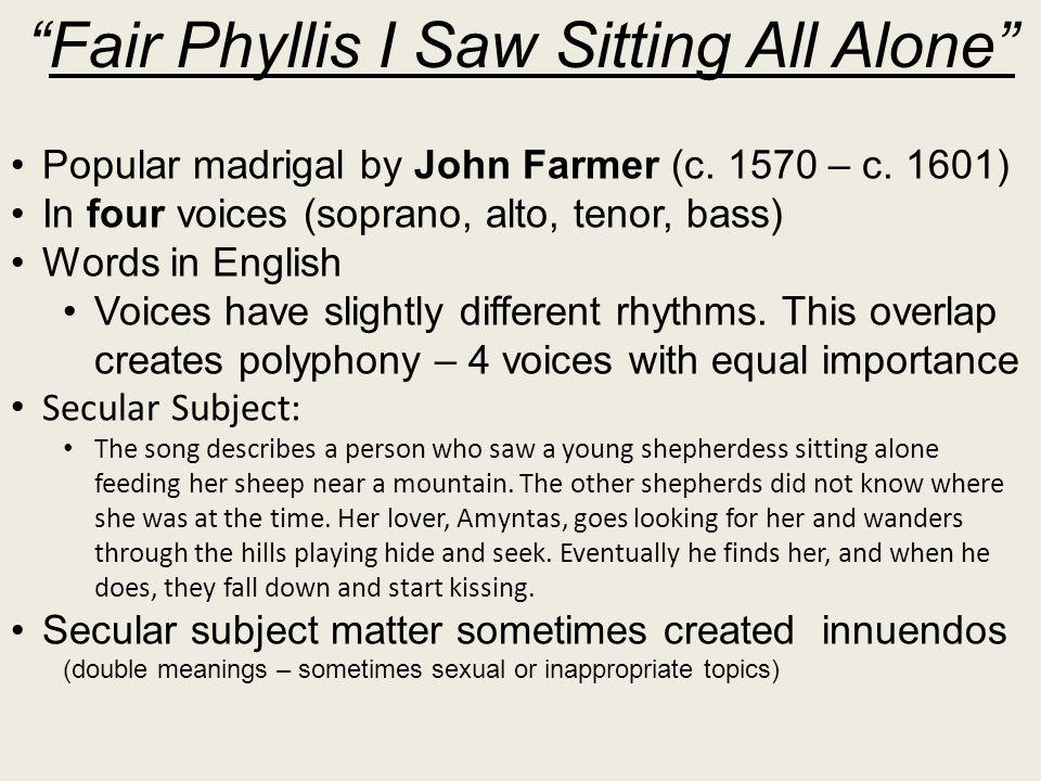 Fair Phyllis I Saw Sitting All Alone