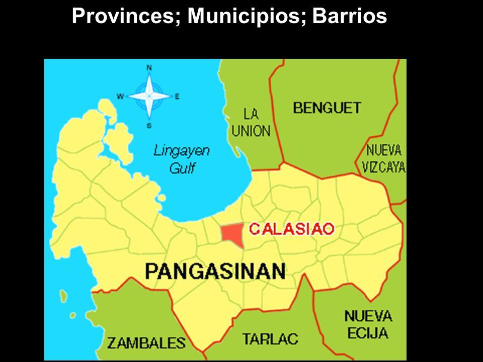 Provinces; Municipios; Barrios
