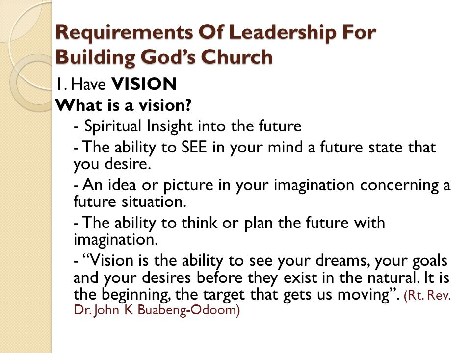 Requirements Of Leadership For Building God's Church