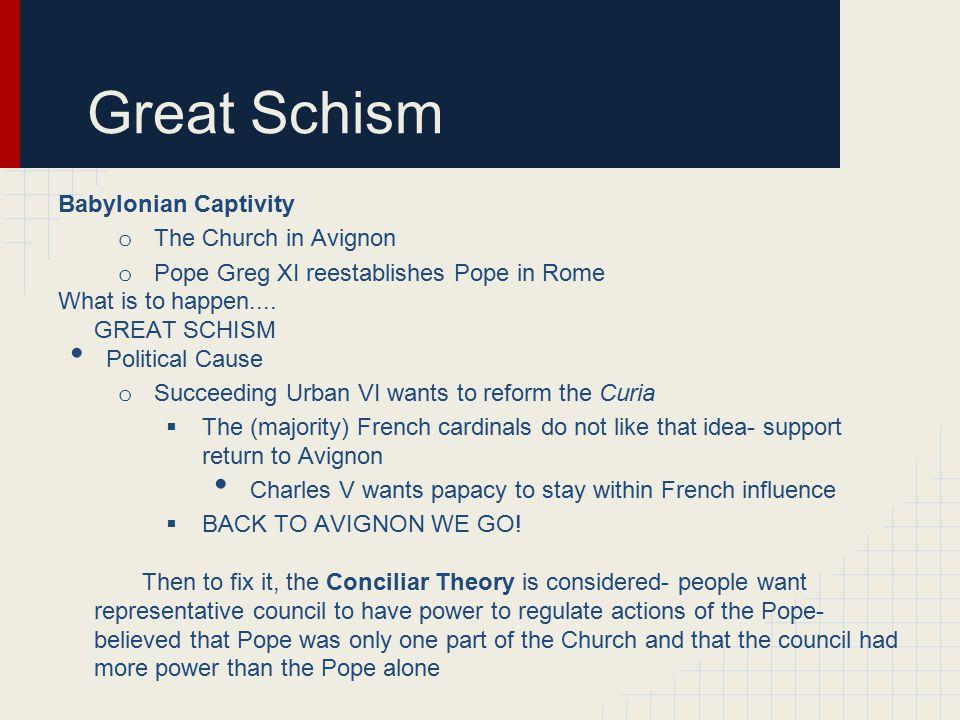 Great Schism Babylonian Captivity The Church in Avignon