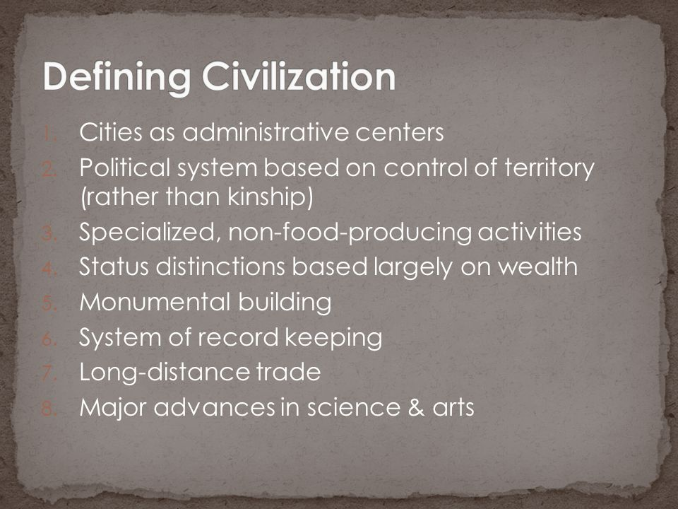 Defining Civilization