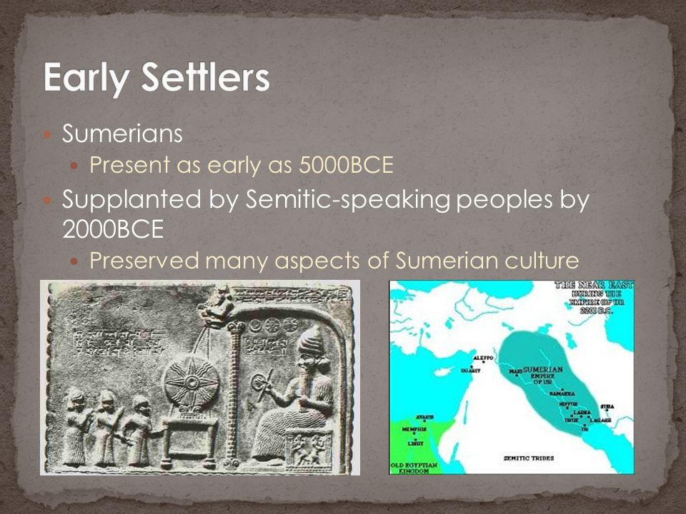 Early Settlers Sumerians