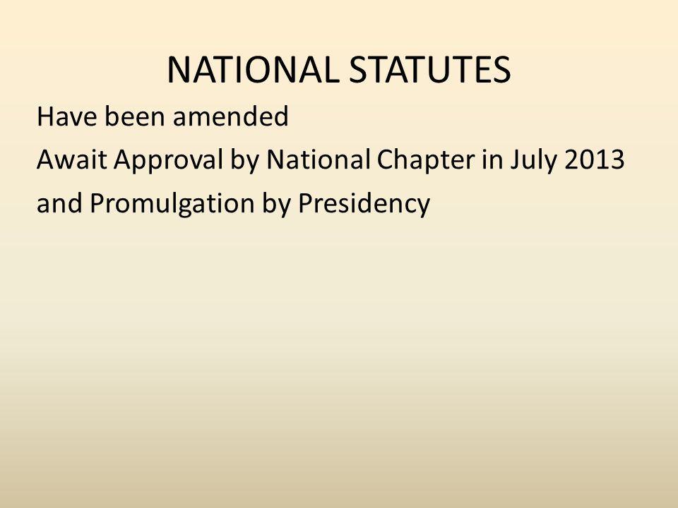 NATIONAL STATUTES Have been amended