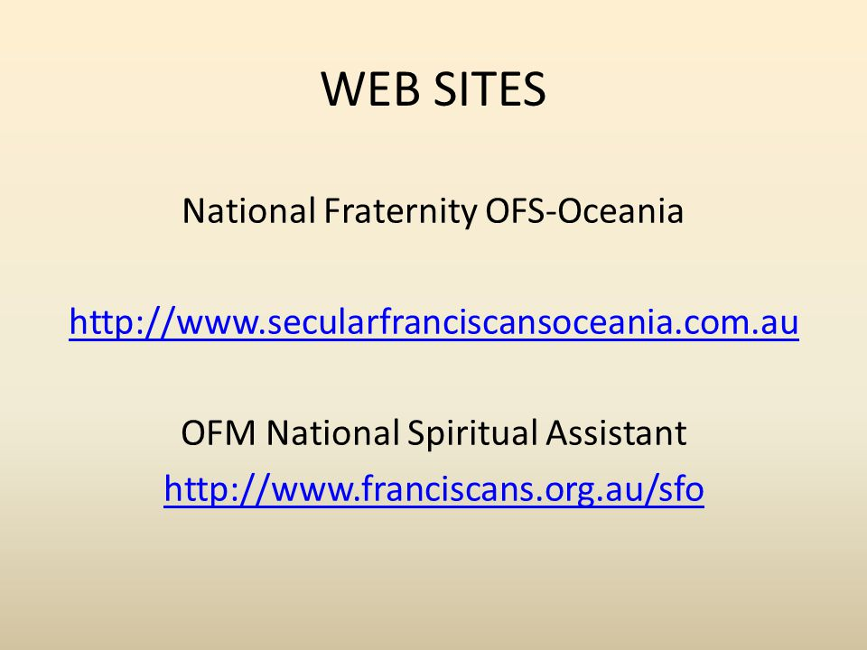 WEB SITES National Fraternity OFS-Oceania