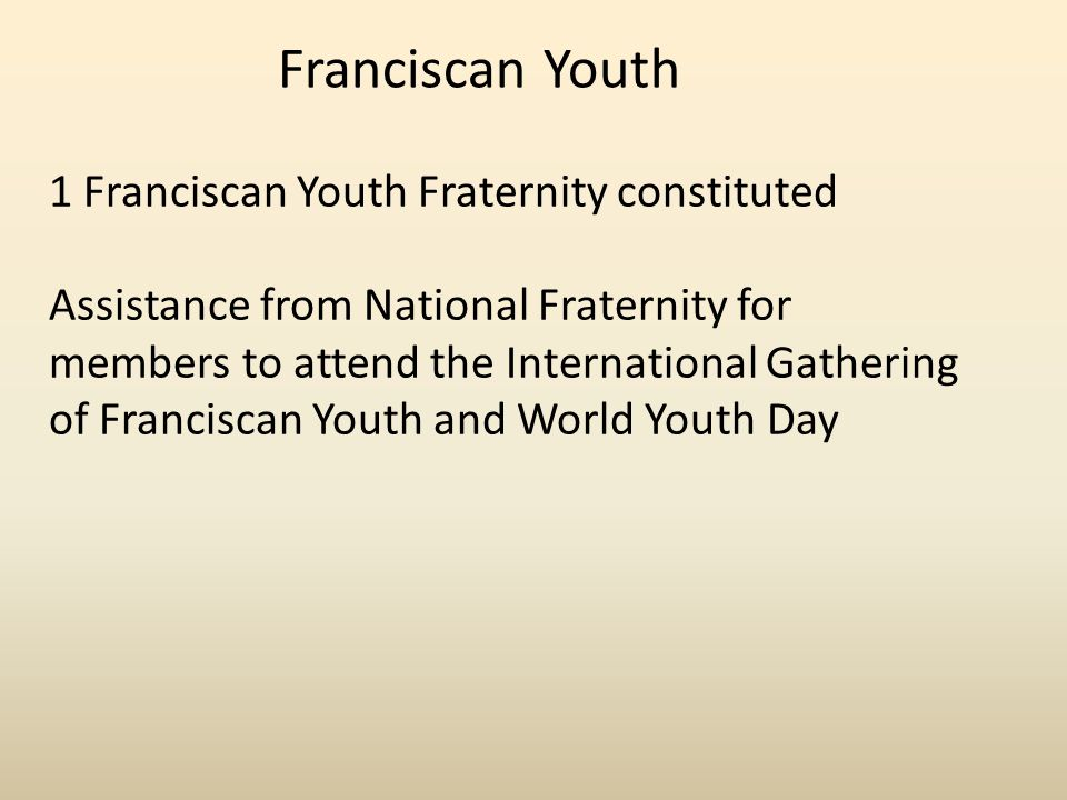 Franciscan Youth 1 Franciscan Youth Fraternity constituted