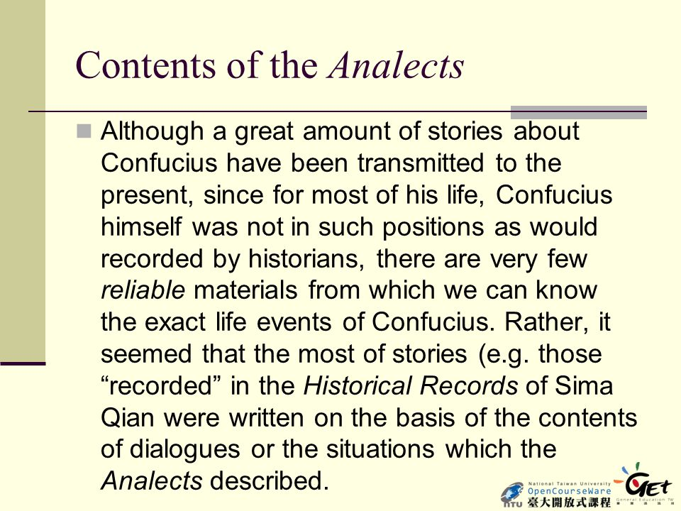Contents of the Analects