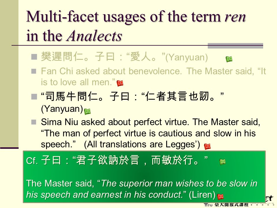 Multi-facet usages of the term ren in the Analects
