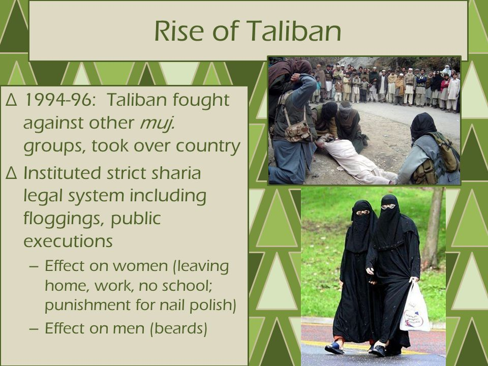 Rise of Taliban 1994-96: Taliban fought against other muj. groups, took over country.