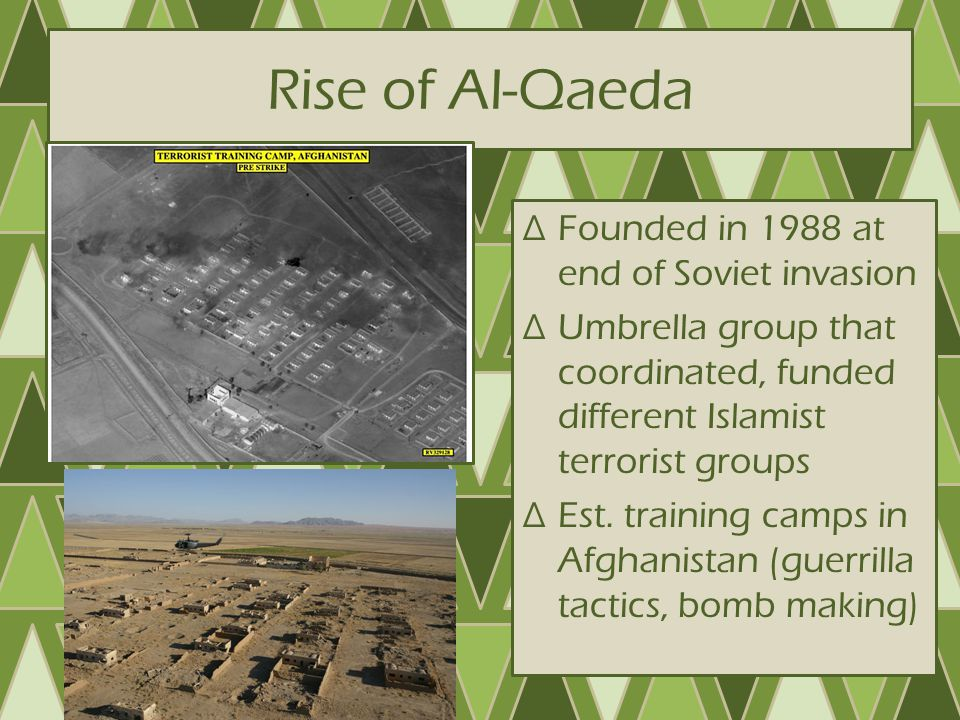 Rise of Al-Qaeda Founded in 1988 at end of Soviet invasion