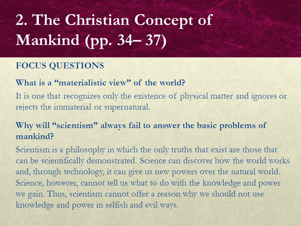 2. The Christian Concept of Mankind (pp. 34– 37)