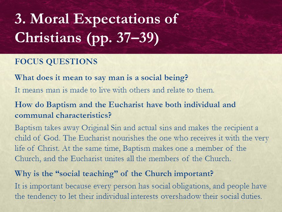 3. Moral Expectations of Christians (pp. 37–39)