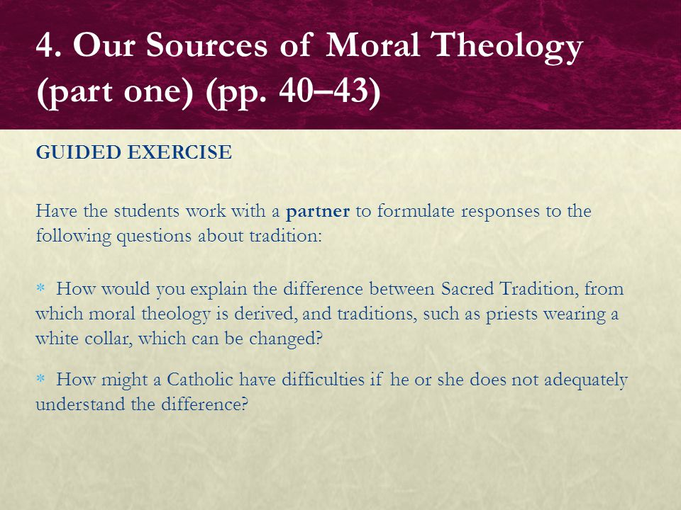 4. Our Sources of Moral Theology (part one) (pp. 40–43)