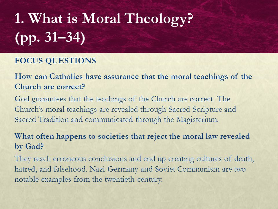 1. What is Moral Theology (pp. 31–34)