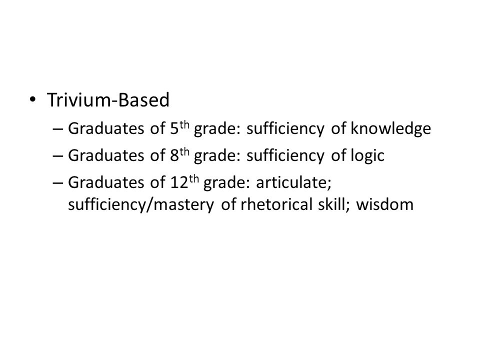 Trivium-Based Graduates of 5th grade: sufficiency of knowledge