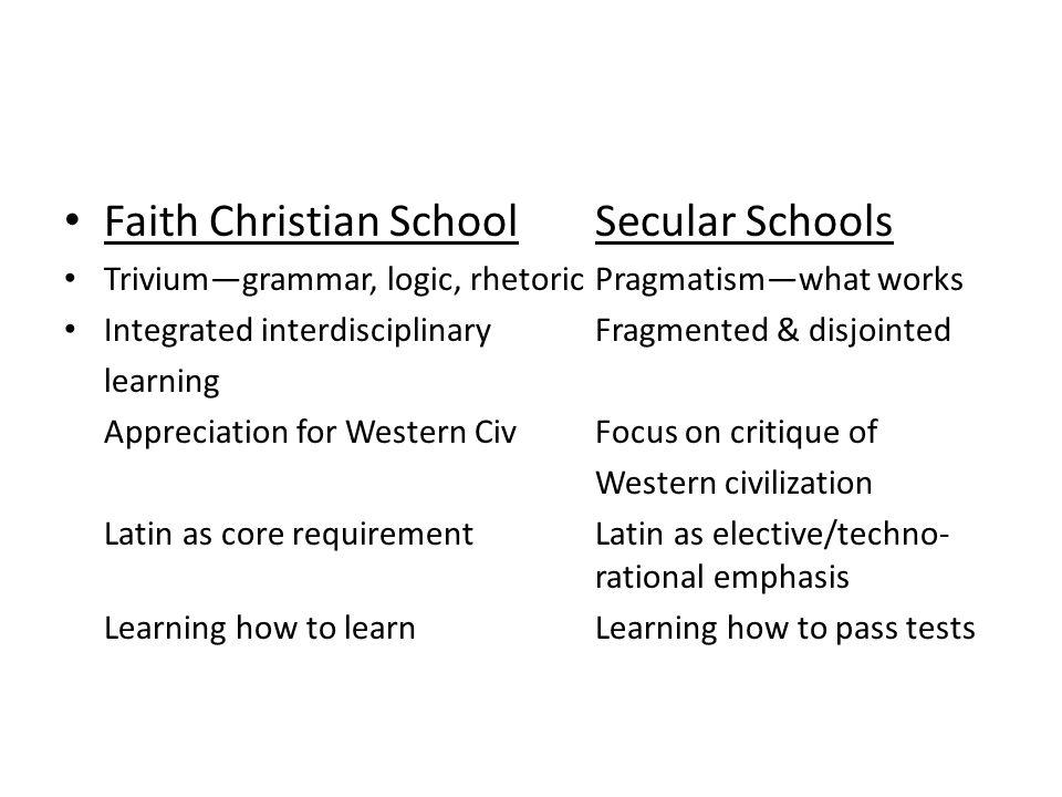 Faith Christian School Secular Schools