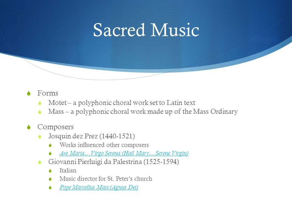 Sacred Music Forms Composers
