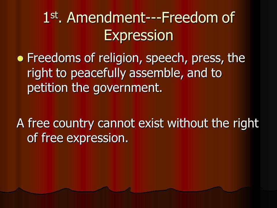 1st. Amendment---Freedom of Expression