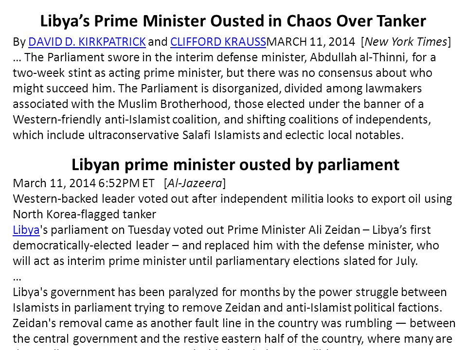 Libya's Prime Minister Ousted in Chaos Over Tanker