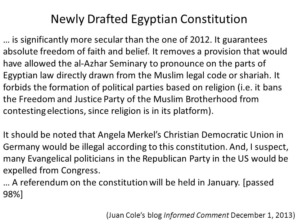 Newly Drafted Egyptian Constitution
