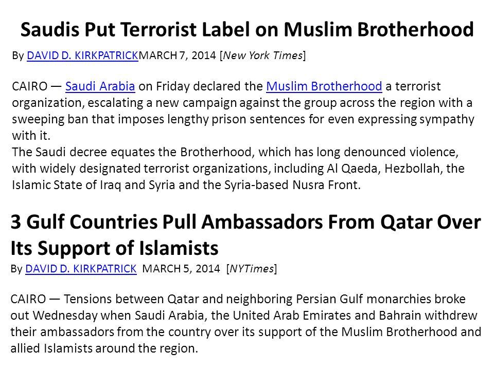 Saudis Put Terrorist Label on Muslim Brotherhood