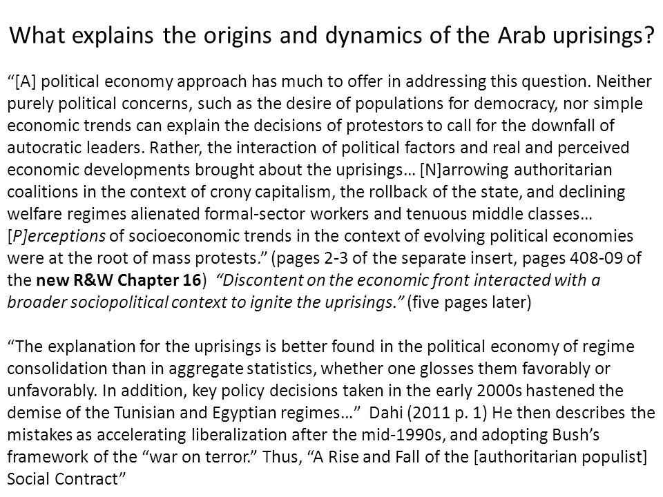 What explains the origins and dynamics of the Arab uprisings
