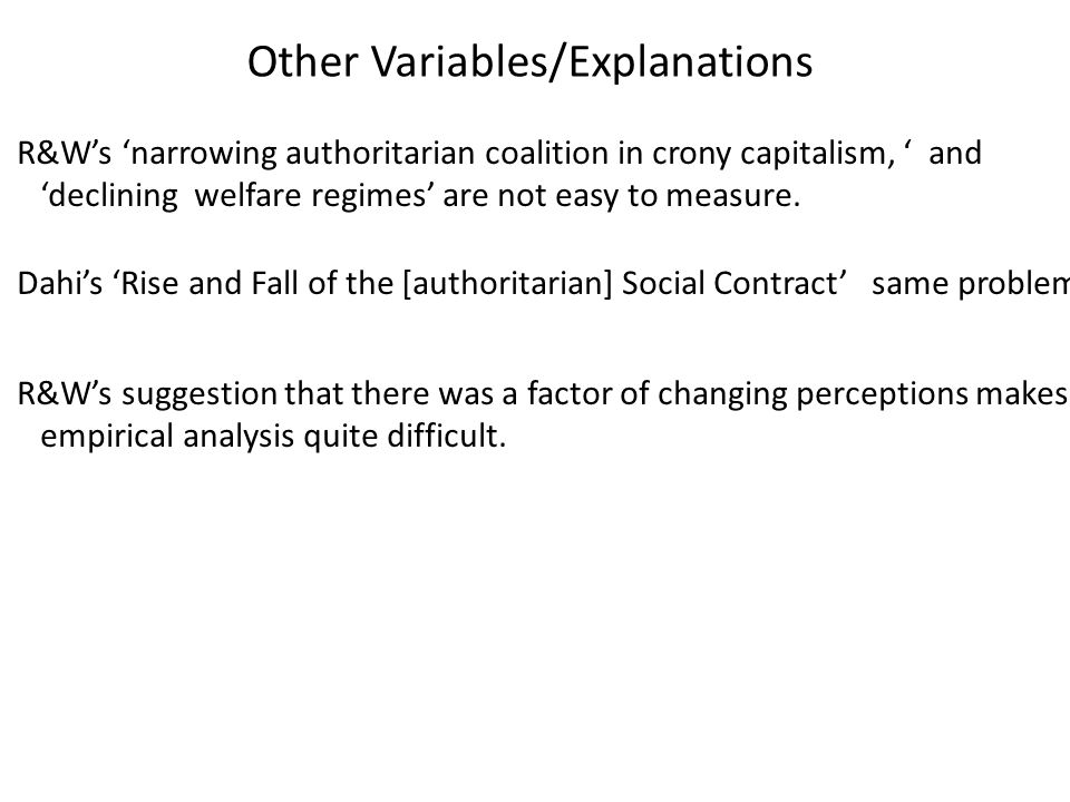 Other Variables/Explanations
