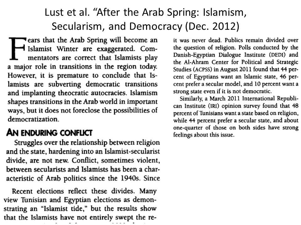 Lust et al. After the Arab Spring: Islamism, Secularism, and Democracy (Dec. 2012)