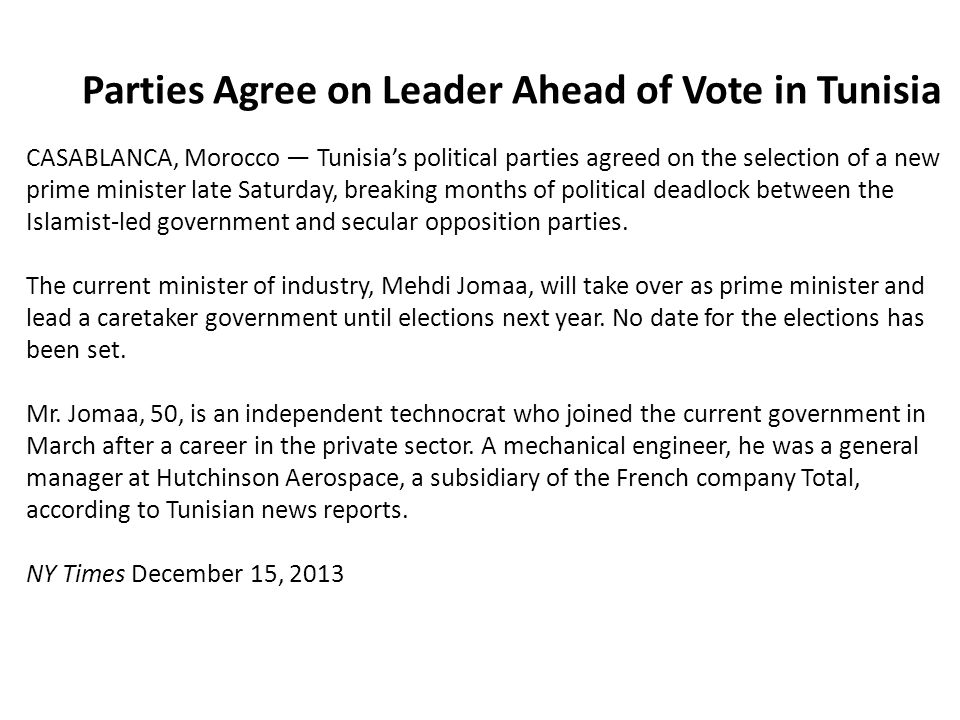 Parties Agree on Leader Ahead of Vote in Tunisia