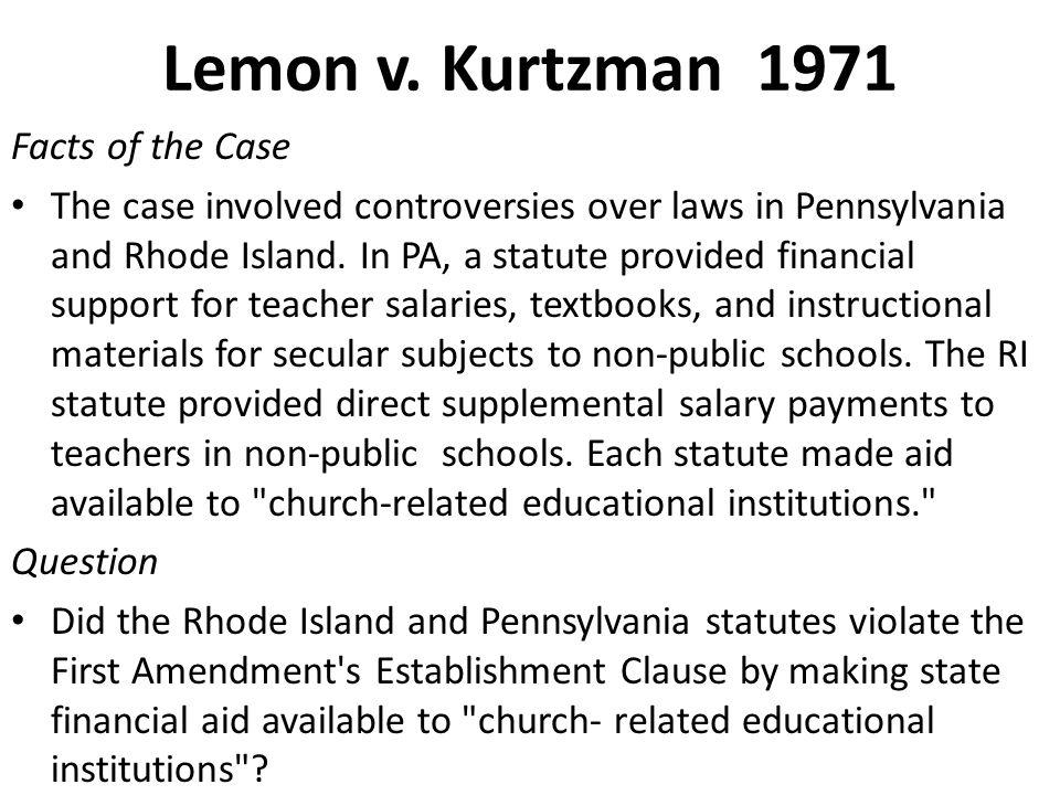 Lemon v. Kurtzman 1971 Facts of the Case