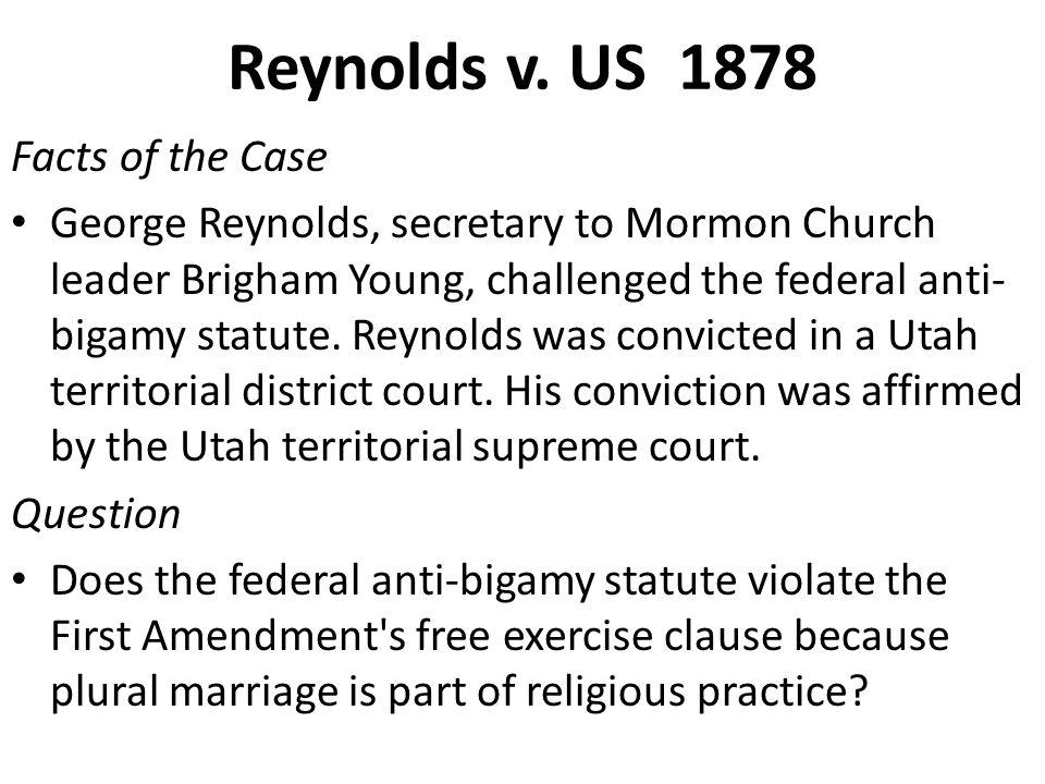 Reynolds v. US 1878 Facts of the Case