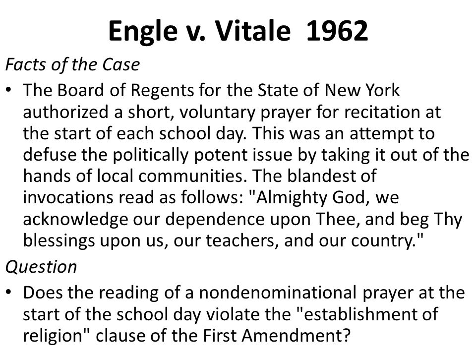 Engle v. Vitale 1962 Facts of the Case