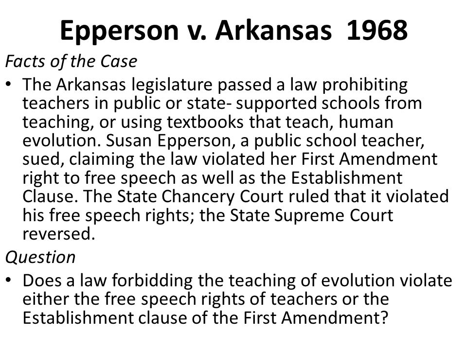Epperson v. Arkansas 1968 Facts of the Case