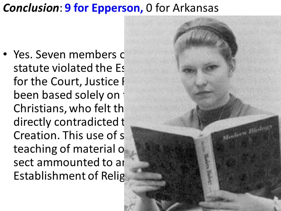 Conclusion: 9 for Epperson, 0 for Arkansas