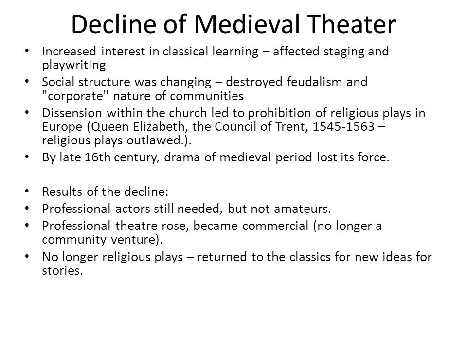 Decline of Medieval Theater