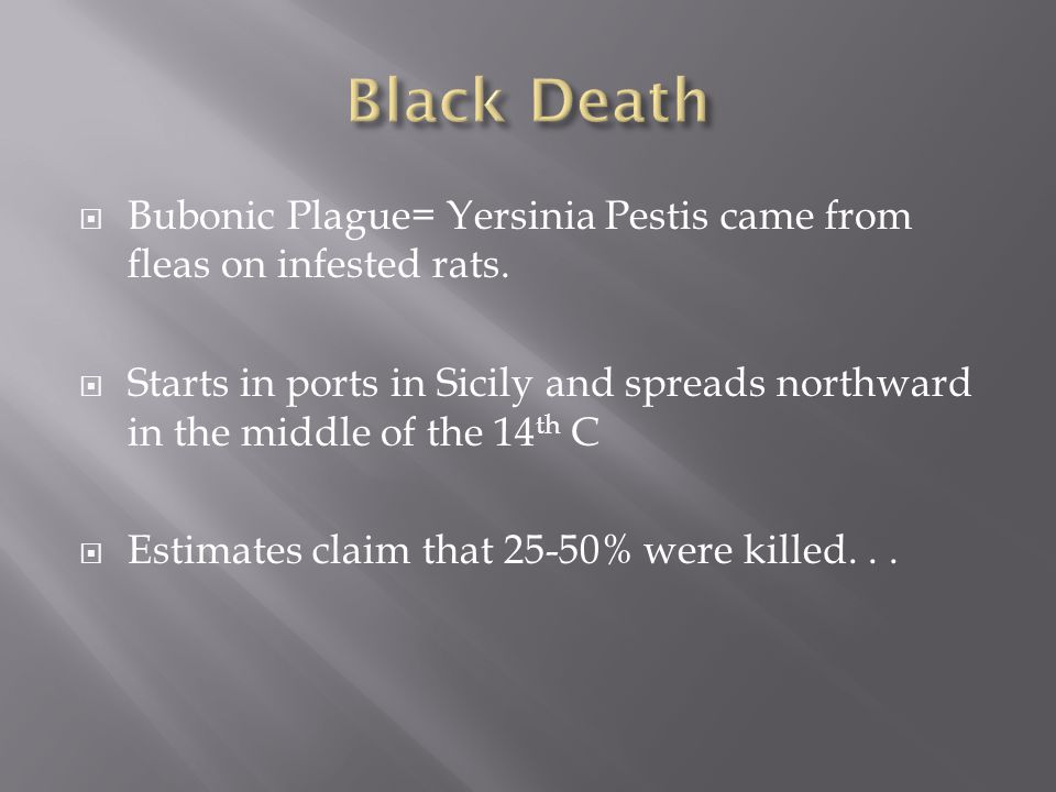 Black Death Bubonic Plague= Yersinia Pestis came from fleas on infested rats.