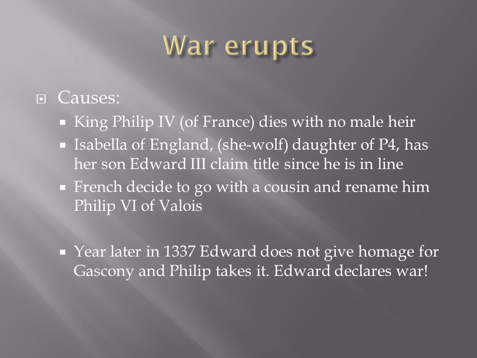 War erupts Causes: King Philip IV (of France) dies with no male heir