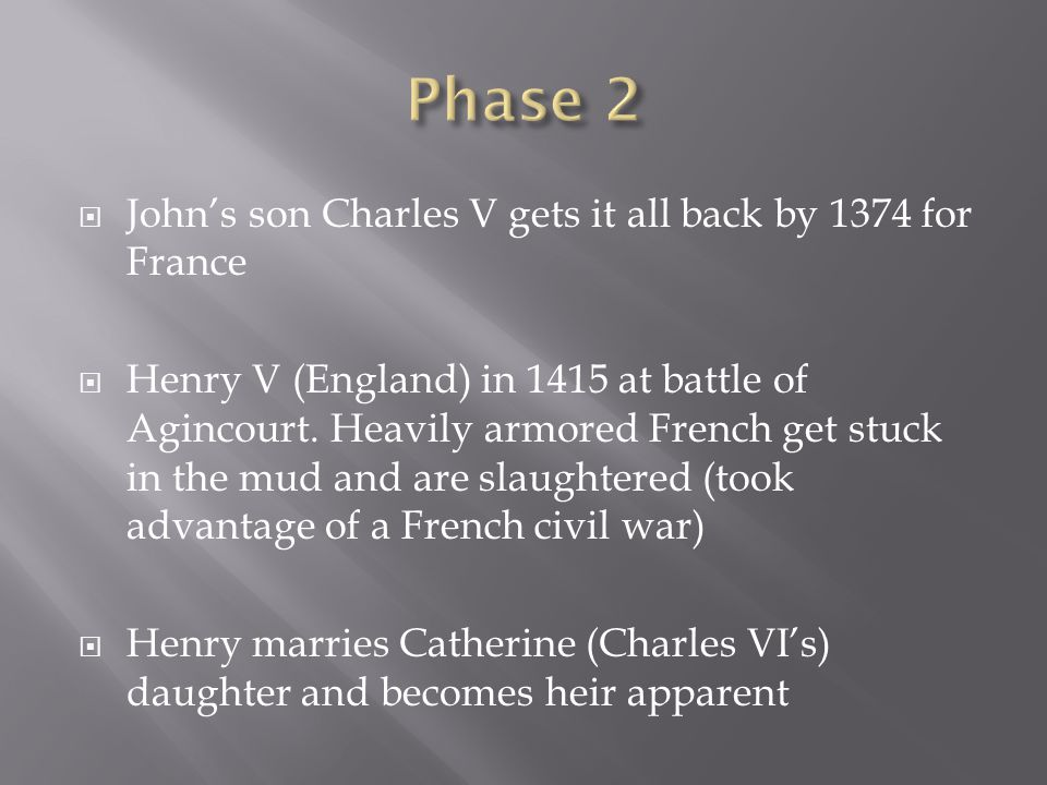 Phase 2 John's son Charles V gets it all back by 1374 for France