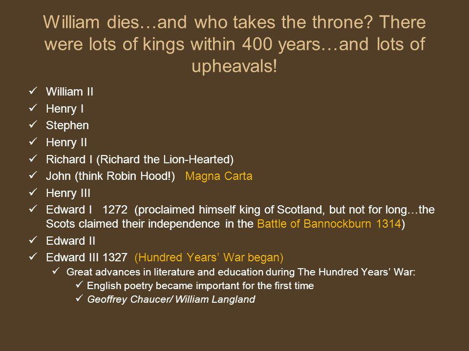 William dies…and who takes the throne
