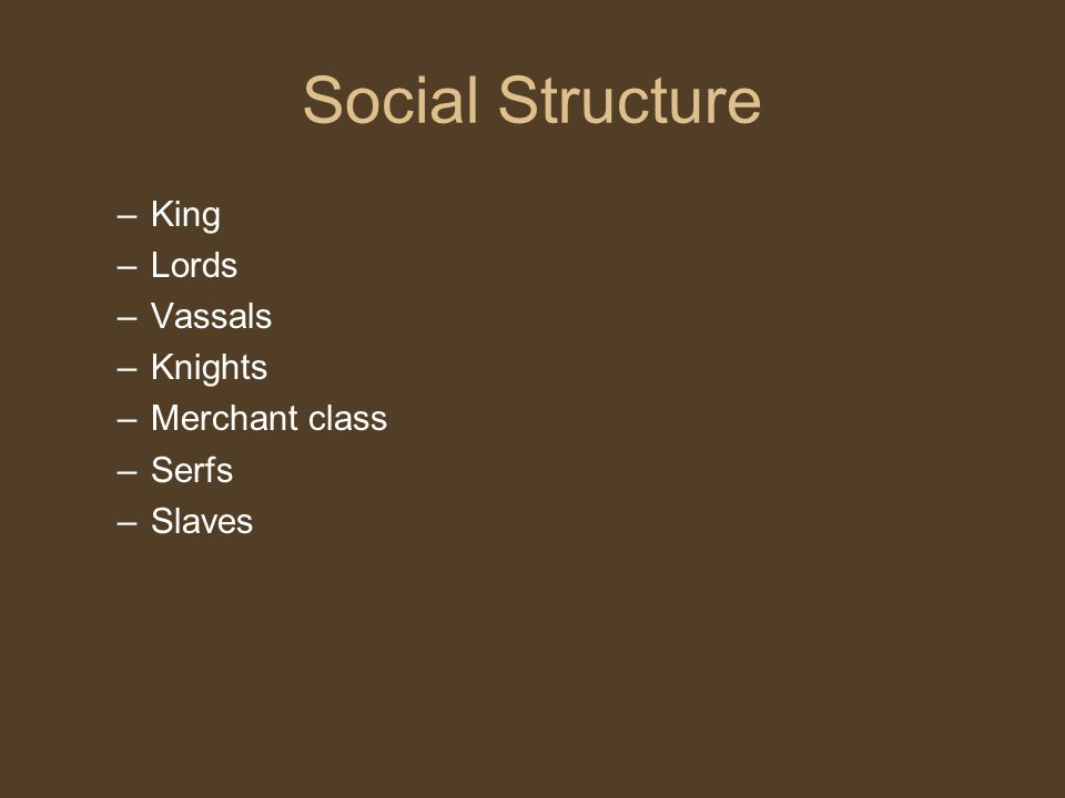 Social Structure King Lords Vassals Knights Merchant class Serfs